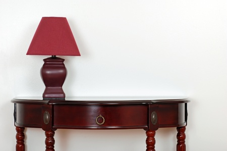 furniture detail: table with red lamp