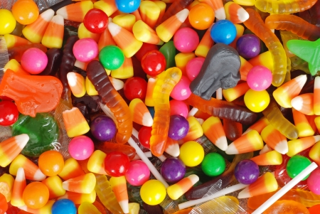 mixed halloween candy background photo