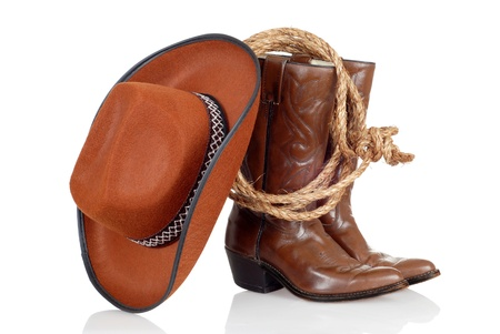 brown leather hat: cowboy boots hat and lasso