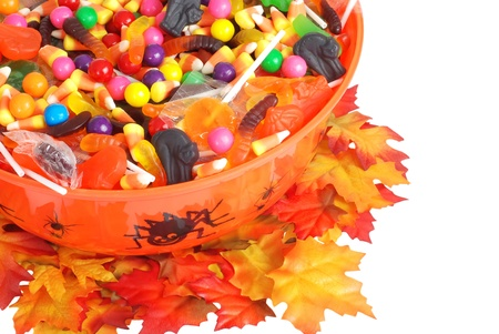 top view halloween candy bowl photo