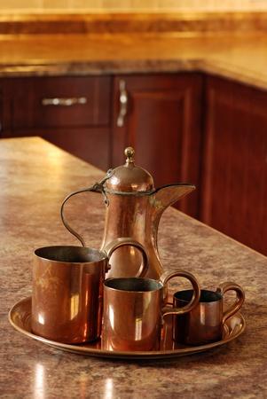 antique copper set focus on jug Stok Fotoğraf