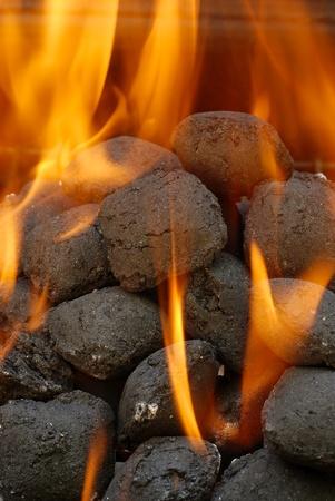 charcoal barbecue briquettes Stock Photo