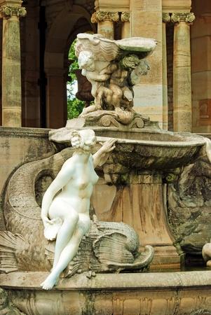 garden fountain: fountain and statue hever castle garden