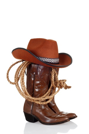brown leather hat: cowboy boots with hat and a lasso
