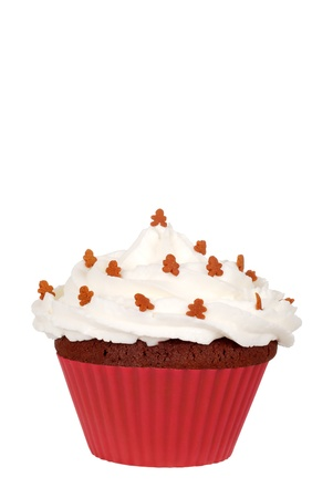 cupcakes isolated: gingerbread man cupcake