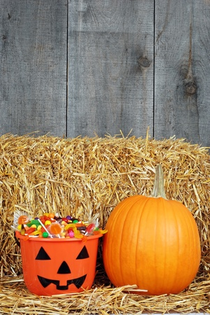 halloween candy and pumpin in barn