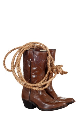 cowboy boots with a lasso Stock Photo - 10944182