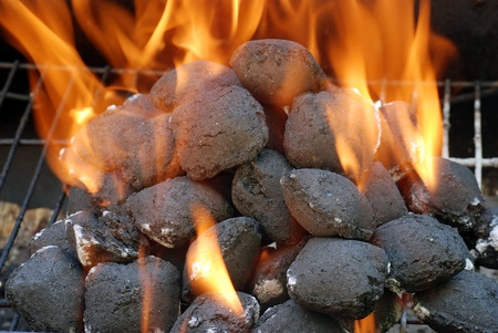 closeup charcoal barbecue briquettes Stock Photo