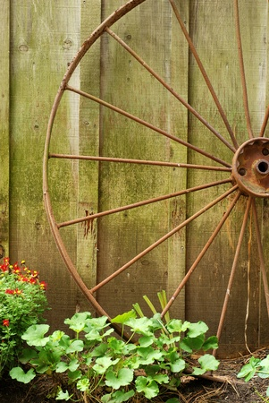 closeup old wagon wheel photo