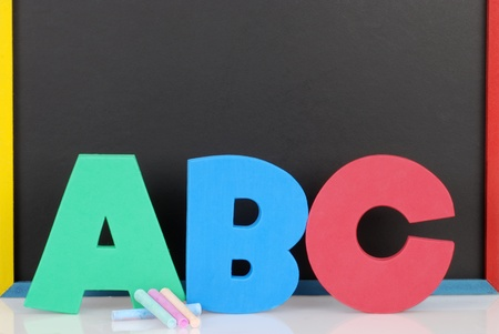 early education: Abc letters chalkboard and chalk Stock Photo