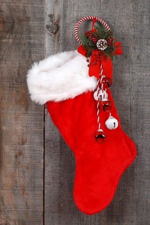 antiqued: Christmas sock and decoration on wood