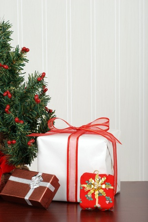 Mini christmas tree with presents photo