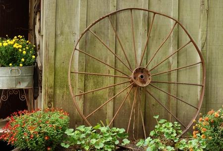 old wood farm wagon: old wagon wheel leaning on barn Stock Photo