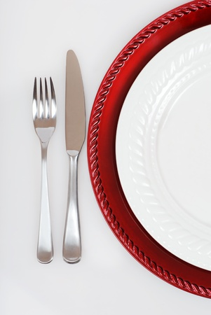 red and white Christmas place setting photo