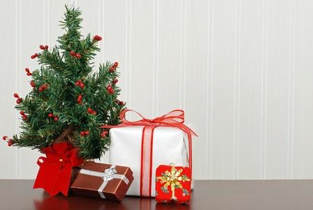 Christmas presents with mini tree Stock Photo - 11276861