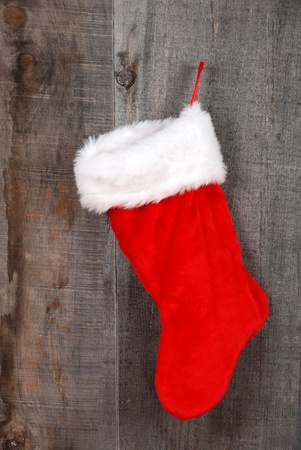 christmas sock: closeup christmas sock hanging Stock Photo
