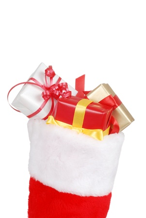 christmas sock: christmas stocking packed with gifts Stock Photo