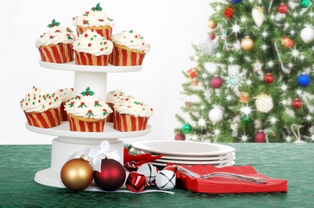 holiday cupcakes with decorations photo