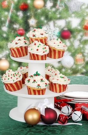 tier: christmas cupcake on cake tier Stock Photo