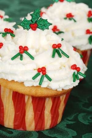 closeup of christmas holly cupcake photo