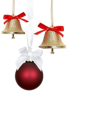 Red christmas ornaments and bells photo
