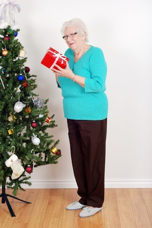 Happy senior woman with christmas gift Stock Photo - 11485850