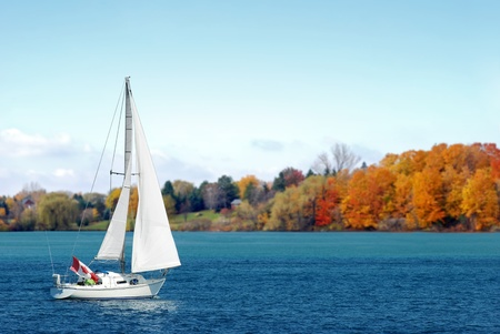 watersports: Canadian sailboat in the autumn