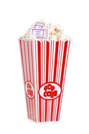 Popcorn in bucket with movie tickets photo