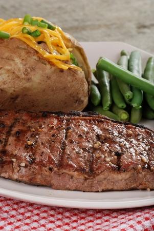 Closeup barbecue strip loin steak