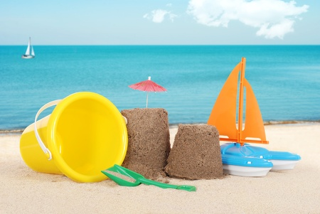 Sand castle with toys Stock Photo - 12459759