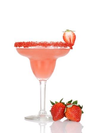 margarita cocktail: closep Strawberry Daiquiri con frutta freshh