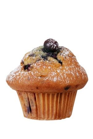 Geïsoleerde blueberry muffin met poedersuiker Stockfoto