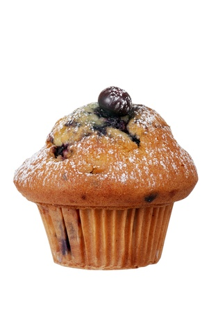 Isolated blueberry muffin with icing sugar
