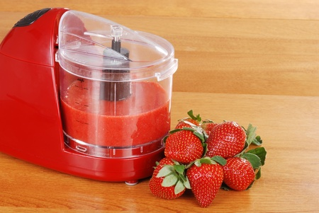 pureed strawberries in blender