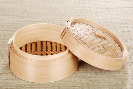 Open bamboo dumpling basket photo