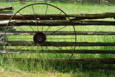 Old metal wagon wheel photo