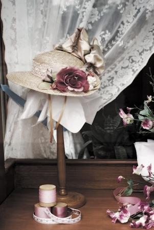 window display: Vintage Ladies hat in store window display Stock Photo
