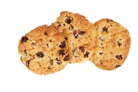 oatmeal cookie: Isolated oatmeal raisin cookies Stock Photo