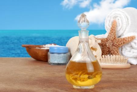 Spa still life with vanilla perfume photo