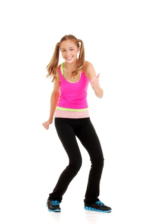 teen girl with pink top workout zumba fitness photo