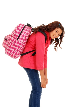 school girl with overweight backpack