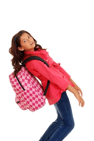 young school girl with heavy packpack photo