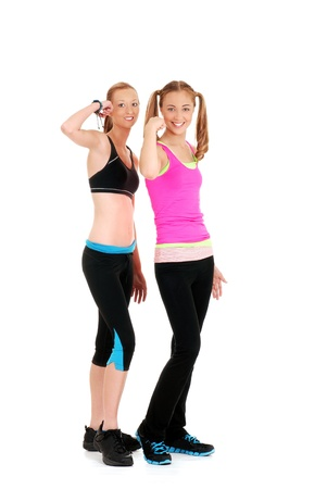 Two happy women doing zumba Fitness photo