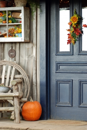 front porch: Fall front porch Stock Photo