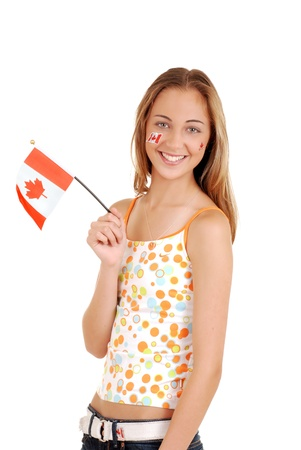 canadian flag: Happy teen girl celebrating Canada day