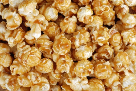 Caramel candy popcorn background photo