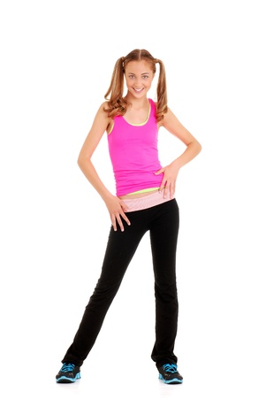 Teen girl dancing zumba workout photo