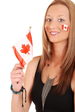 canada day: Young woman with canada flag and tattoos Stock Photo