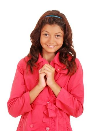 hair band: Smiling female child wearing pink coat