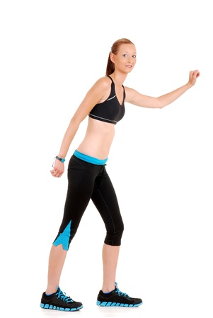 woman wearing black blue zumba fitness outfit photo